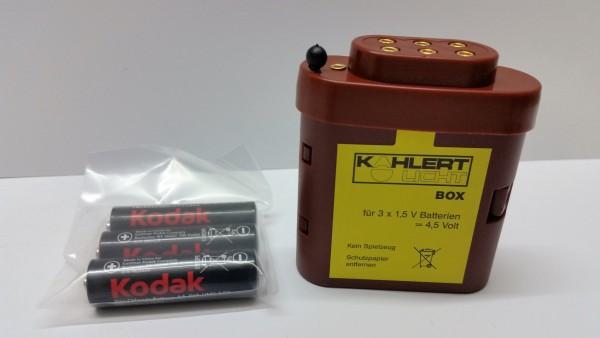 Batteriebox mit Kappe und Batterien
