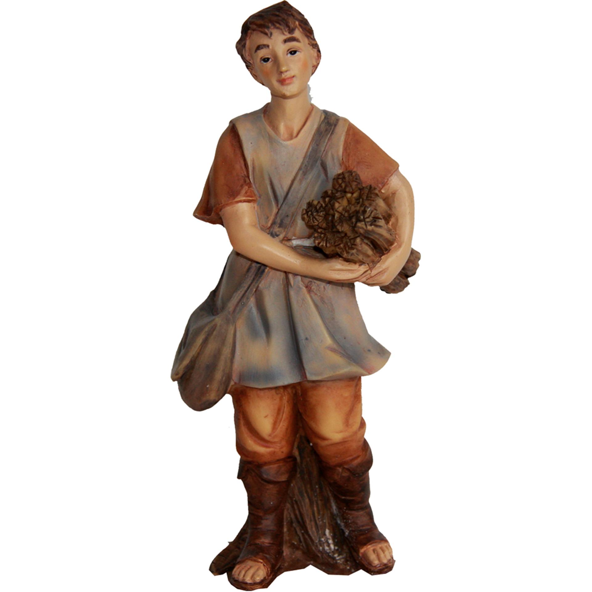 Krippenfigur Junge mit Holz Zusatzfigur