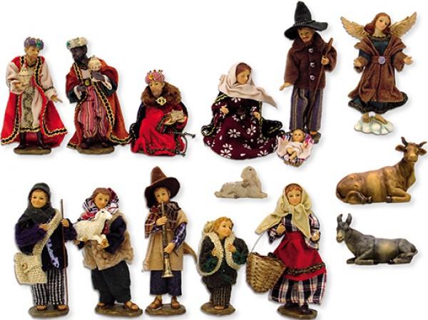 Ankleidefiguren Krippe alpenländisch 15-tlg., für 10cm Figuren