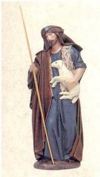 Krippenfigur Hirte Schaf im Arm