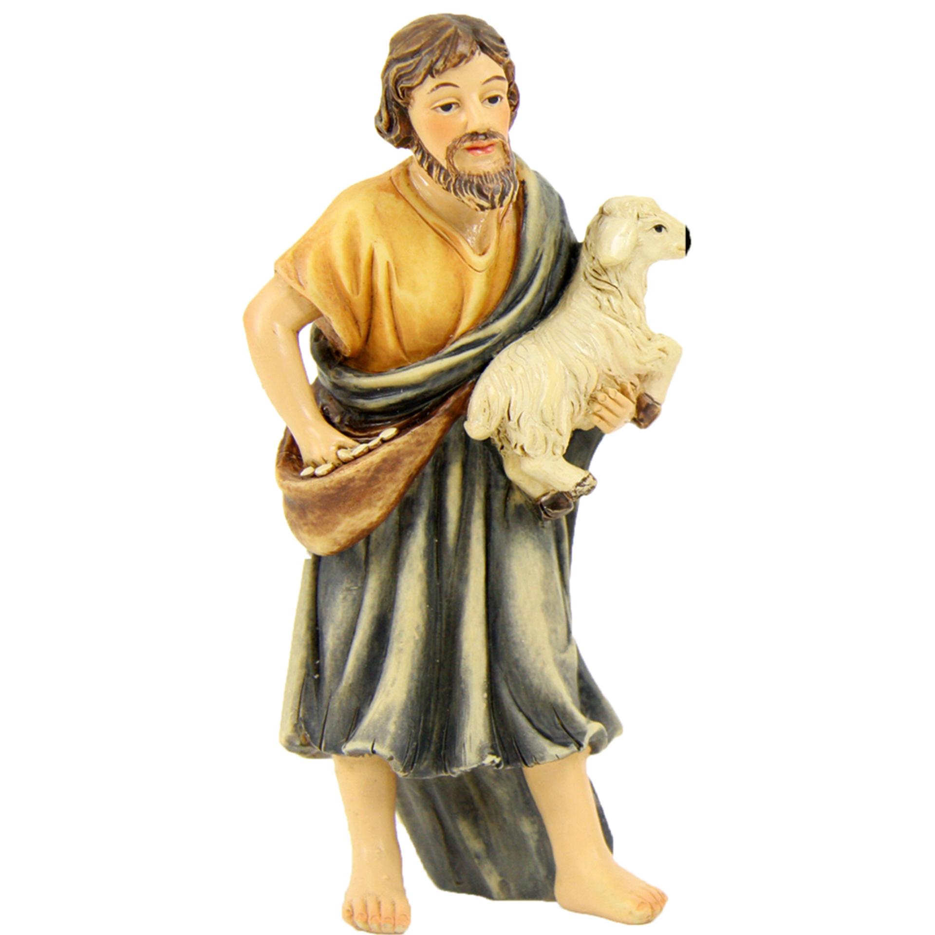 Krippenfigur Hirte mit Schaf auf Arm