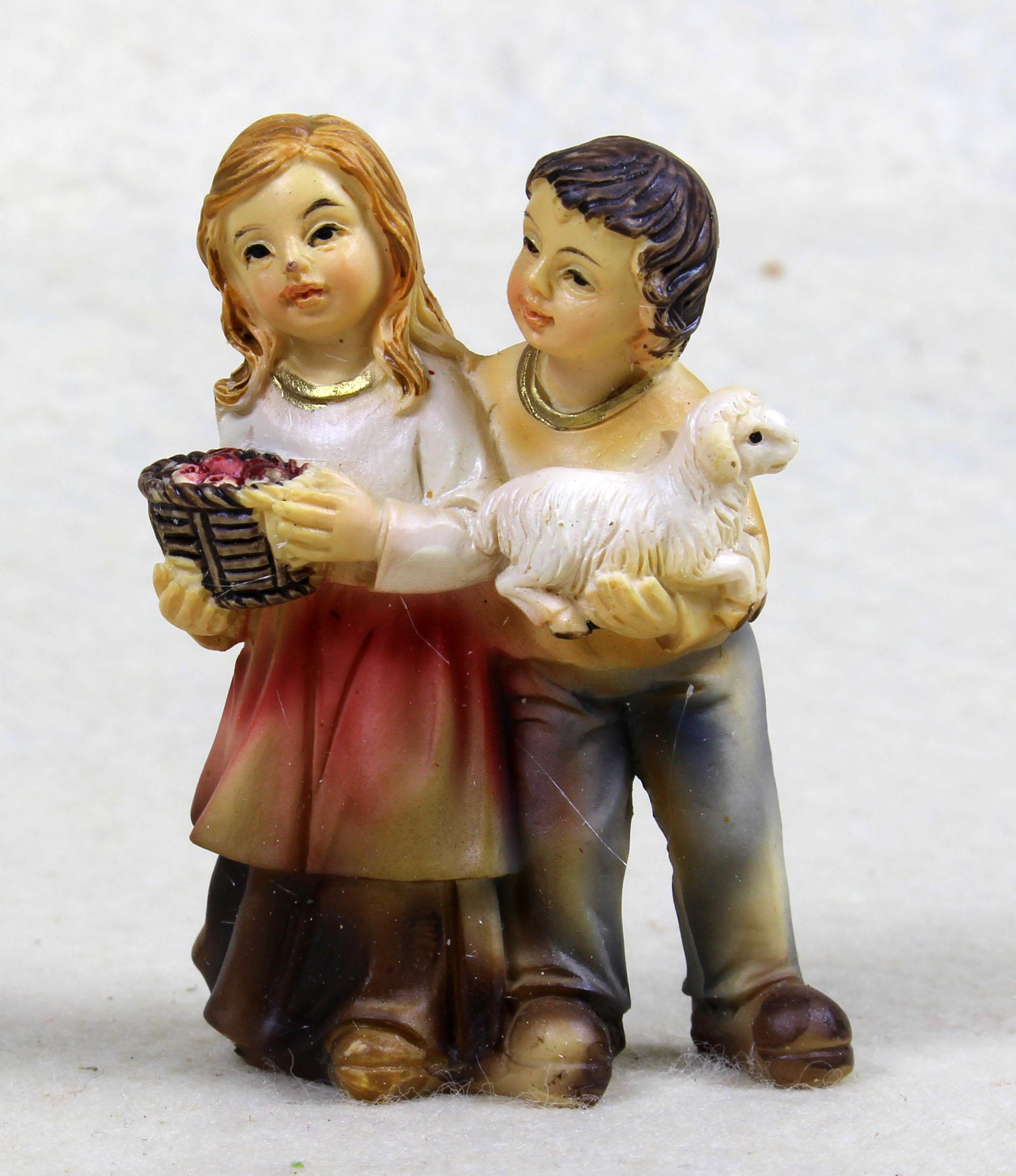 Junge und Mädchen mit Lamm und Obstkorb, für 10-11cm Figuren
