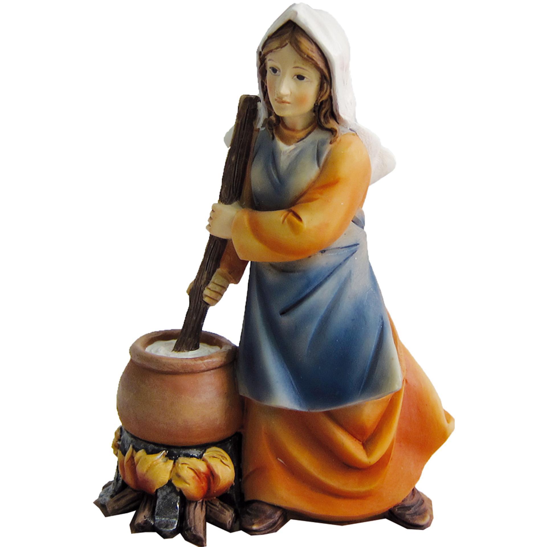 Frau am Feuer Zusatzfigur Krippe