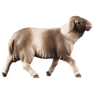 Holzfigur Schaf braun gefleckt laufend