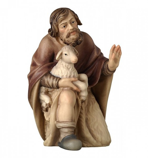 Krippenfigur Hirte kniend mit Schaf Bethlehem Krippe color