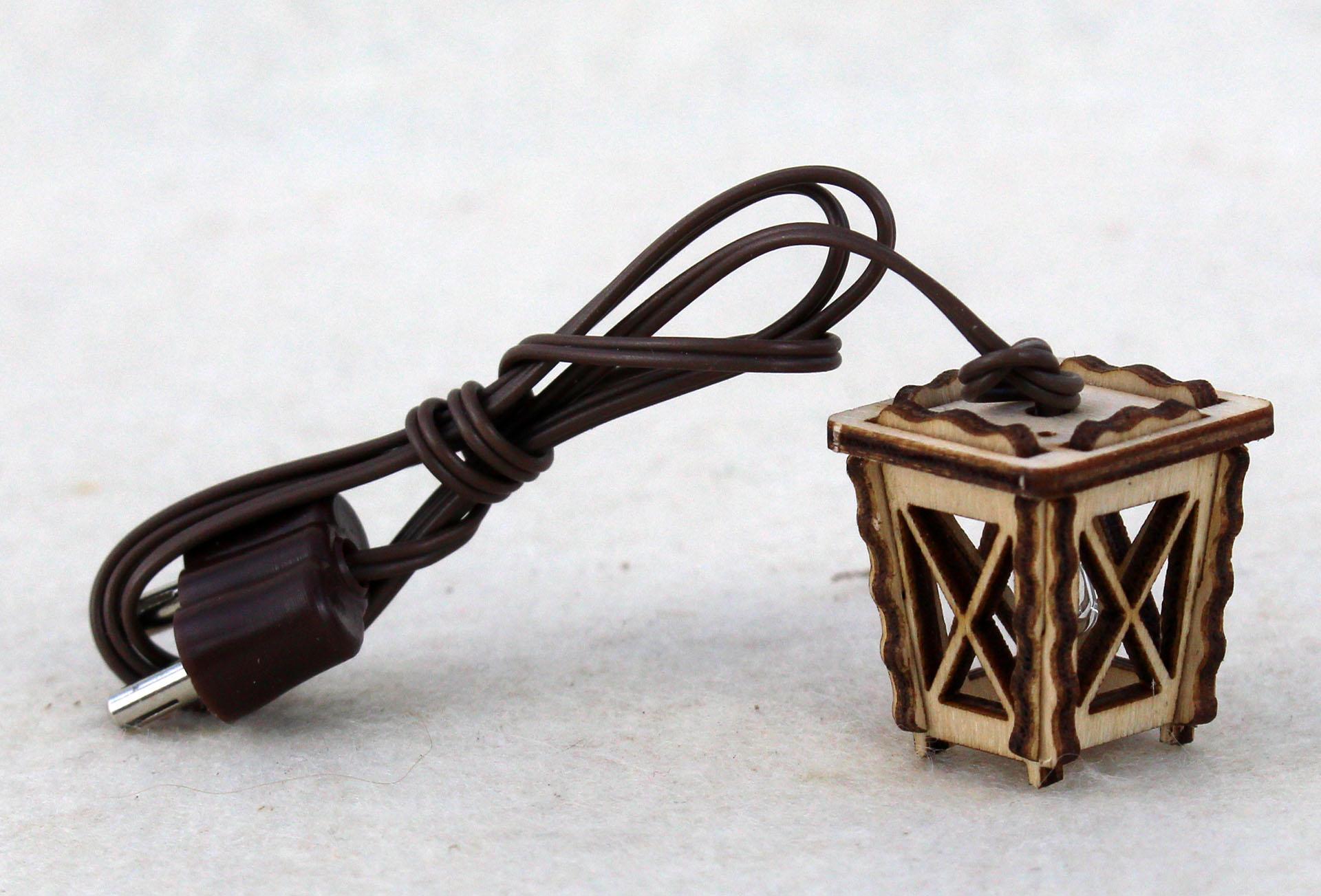 Holzlaterne mini weiß für Krippenbau