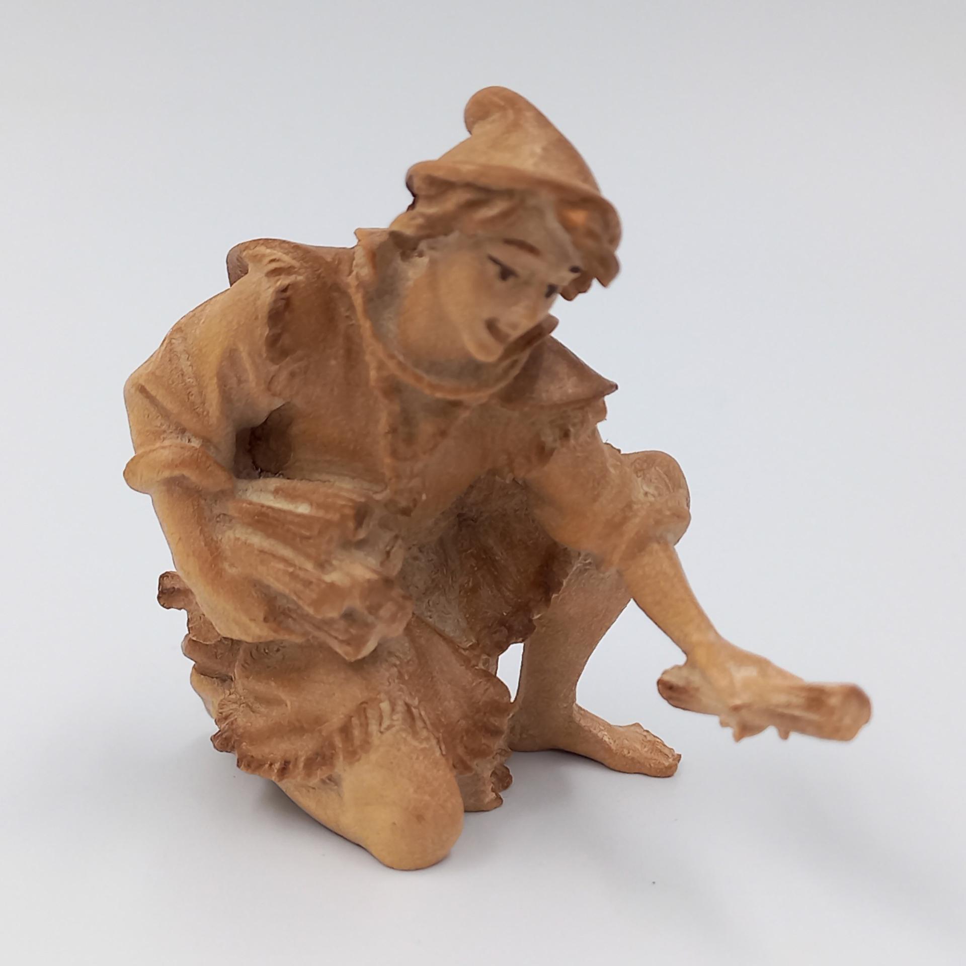 Krippenfigur Hirte kniend mit Holz Ulrich Krippe mfg