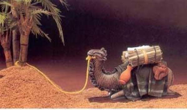 Krippenfigur Kamel liegend