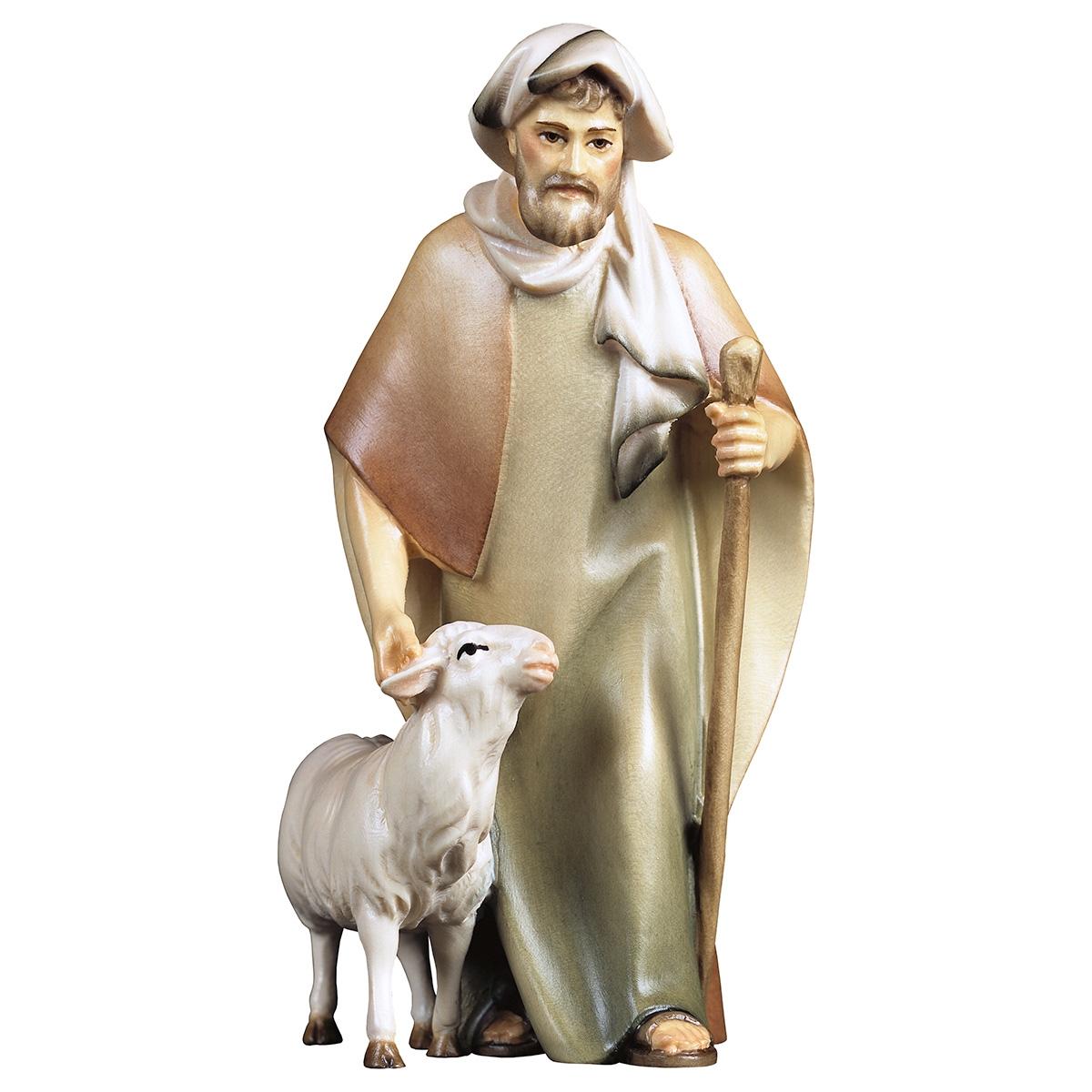Hirte mit Stock und Schaf Komet Krippe col., für 10cm Figuren