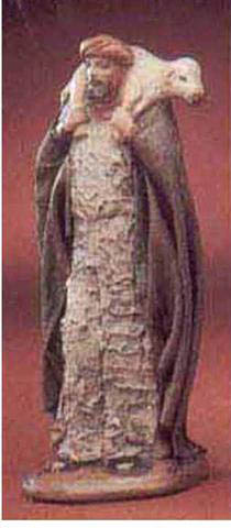 Krippenfigur Hirte mit Schaf