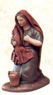 Krippenfigur Hirtin kniend Korb