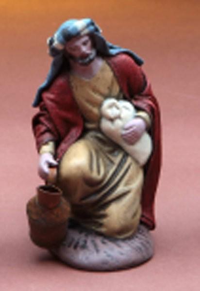 Krippenfigur Hirte kniend Krüge