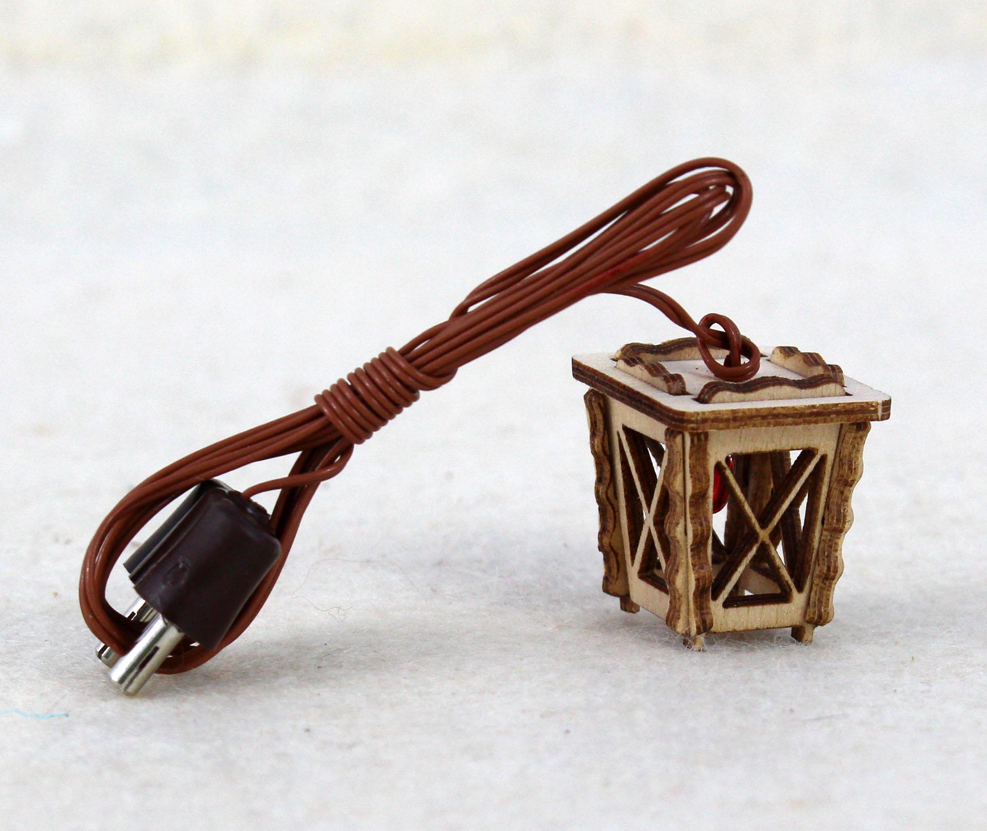 Holzlaterne mini rot für krippenbau